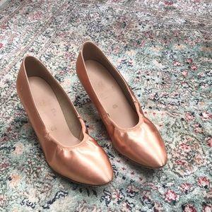 "Supadance flesh satin 2"" dance shoes, 6 1/2 EUR."